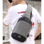 Multi-Function Oxford Portable Casual Single Shoulder Bag with Earphone Line Hole & USB Charging (Gray)