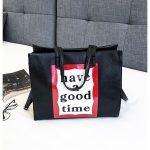 Fashion Casual Canvas Single Shoulder Bag Ladies Handbag (Black)