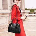 Embossed Crocodile Pattern PU Leather Shoulder Bag Ladies Handbag Messenger Bag (Black)
