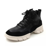 Fashion Sports Shoes Wild Casual PU Leather High-top Girl Shoes (Color:Black Size:35)