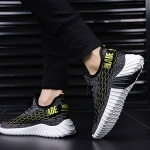 Outdoor Casual Mesh Sport Shoes for Men (Color:Black green Size:39)