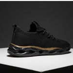 Round Head Plain Mesh Outdoor Sports Shoes (Color:Black Gold Size:39)