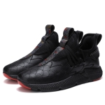 Round Head Microfiber Leather Comfortable and Breathable Casual Sport Shoes for Men (Color:Black Size:39)