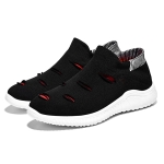 Flying Woven Comfortable and Breathable Outdoor Casual Shoes for Men (Color:Black Red Size:39)