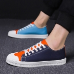 Trendy Color Comfortable Breathable Canvas Shoes for Men (Color:Blue Orange Size:39)