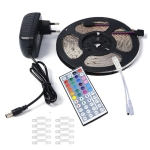 YWXLight 5m 3528SMD RGB IP67 Waterproof LED Light with 44 Keys Remote Control, Fixed Buckle, EU Plug