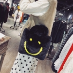 Smiling Face Fashion Casual Plush Single Shoulder Bag Ladies Handbag Chain Bag (Black)