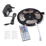 YWXLight 5m 3528SMD RGB Waterproof LED Light with 44 Keys Remote Control, Fixed Buckle, UK Plug
