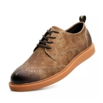 Retro Bullock Lace-up Casual Shoes (Color:Yellow Brown Size:39)