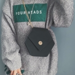 Hexagon Shape Fashion Casual PU Single Shoulder Bag Ladies Handbag (Black)