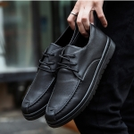 Round Head Microfiber Leather Fashion Casual Shoes for Men (Color:Black Size:39)