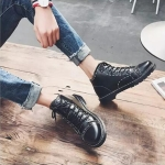 Men Tooling boots Lace-Up Casual Shoes (Color:Black Size:38)