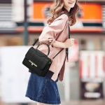 Lattice PU Leather Shoulder Bag Messenger Bag Ladies Handbag (Black)