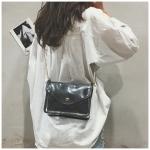 Laser Color Plastics Shoulder Bag Messenger Bag Chain Bag Ladies Handbag (Black)