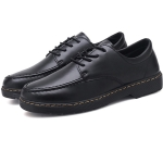 Fashion Solid Color Round Head Casual Microfiber Leather Shoes for Men (Color:Black Size:39)