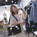 Cute Plush Canvas Shoulder Bag Messenger Bag Ladies Handbag (Black)