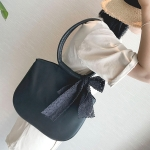 Lace Bowknot PU Shoulder Bag Messenger Bag Ladies Handbag (Black)
