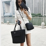 4 in 1 Casual PU Shoulder Bag Ladies Handbag Messenger Bag (Black)
