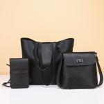 3 in 1 Casual PU Shoulder Bag Ladies Handbag Messenger Bag (Black)