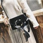 Ribbon Velvet Woolen Single Shoulder Bag Messenger Bag Ladies Handbag (Black)