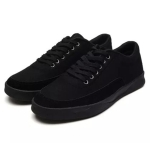 Men Casual Comfortable Breathable Canvas Shoes (Color:Black Size:39)