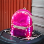 LED Light Jelly Color Clear Double Shoulders Backpack Bag