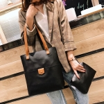2 In 1 PU Leather Handbag Messenger Bag Sing-shoulder Bag For Girls (Black)