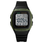 SKMEI 1278 Fashionable Outdoor Waterproof Digital Watch Student Sports Wrist Watch Support 5 Group Alarm Clocks (Army Green)