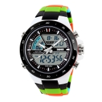 SKMEI 1016 Multifunctional Men Outdoor Sports Camouflage Noctilucent Waterproof Double Digital Watch (Black)