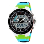 SKMEI 1016 Multifunctional Men Outdoor Sports Camouflage Noctilucent Waterproof Double Digital Watch (Green)