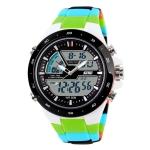 SKMEI 1016 Multifunctional Men Outdoor Sports Camouflage Noctilucent Waterproof Double Digital Watch (Green)