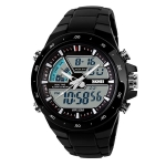 SKMEI 1016 Multifunctional Men Outdoor Sports Noctilucent Waterproof Double Digital Watch (Black)