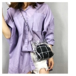 PVC Material Transparent Twinset Bag Plastic Bag Sling Bag Single-Shoulder Bag (Black)