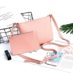 2 in 1 Leisure Fashion PU Slant Shoulder Bag Handbag (Pink)