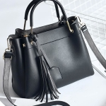 Leisure Fashion PU Slant Shoulder Bag Handbag Tassel Bag (Black)