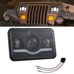 5 Inch 35W 4000LM 6000K + Amber Car Truck Square LED Headlights Work Lights Spotlight