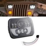 7 Inch 35W 4000LM 6000K + Amber Car Truck Square LED Headlights Work Lights Spotlight