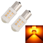 2 PCS 1156 / BA15S 4.5W DC 12V Car Auto Ceramics Turn Lights 18LEDs SMD-3030 Lamps, with Projector Lens (Orange Light)