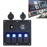 5Pin Multi-function Combination Switch Panel Cigarette Lighter Socket + Double Lights 4 Way Switches + Dual USB Charger  for Car RV Marine Boat