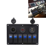 5Pin Multi-function Combination Switch Panel Voltmeter + Cigarette Lighter Socket + Double Lights 6 Way Switches + Dual USB Charger  for Car RV Marine Boat