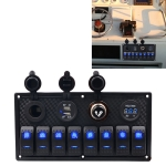 5Pin Multi-function Combination Switch Panel Voltmeter + Cigarette Lighter + Double Lights 8 Way Switches + Dual USB Charger + Cigarette Lighter Socketfor Car RV Marine Boat