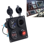 Multi-function Combination Switch Panel Voltmeter + Cigarette Lighter Socket + Dual USB Charger  for Car RV Marine Boat