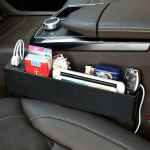 Universal Car Multi-functional Charger Console Side Pocket Seat Gap Side Storage Box, with 2 USB Ports (Black)