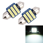 2 PCS 31mm DC12V / 1W / 6000K / 65LM 21LEDs SMD-3014 Car License Plate Light / Dome Light, with Decoder