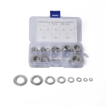 72 PCS Round Shape Stainless Steel Flat Washer Assorted Kit M4-M16 for Car / Boat / Home Appliance