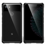 Snap-on Aluminum Frame and Tempered Glass Back Plate Case For Google Pixel 3XL (Black)
