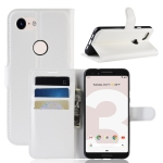 Litchi Texture Horizontal Flip Leather Case for Google Pixel 3 Lite, with Wallet & Holder & Card Slots(White)