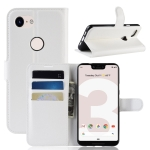 Litchi Texture Horizontal Flip Leather Case for Google Pixel 3 Lite XL, with Wallet & Holder & Card Slots(White)
