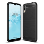 Brushed Texture Carbon Fiber Shockproof TPU Case for Huawei Y6 Pro (2019) (Black)