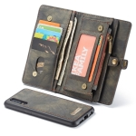 CaseMe Detachable Multifunctional Horizontal Flip Leather Case for Huawei P30 Lite, with Card Slot & Holder & Zipper Wallet & Photo Frame (Black)